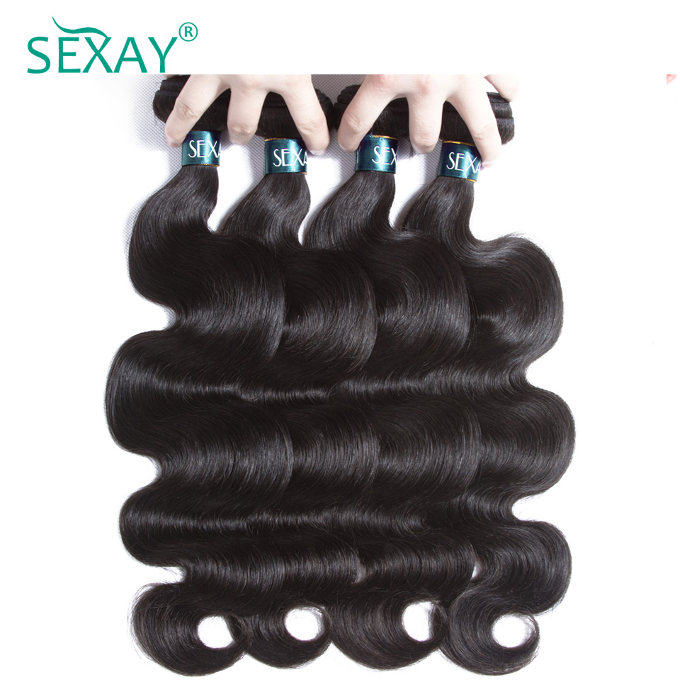 Sexay Brazilian Body Wave Hair Bundles 4 Pcs Human Hair Weft 100% Brazilian Human Hair Weave Bundles Non Remy Hair Extensions