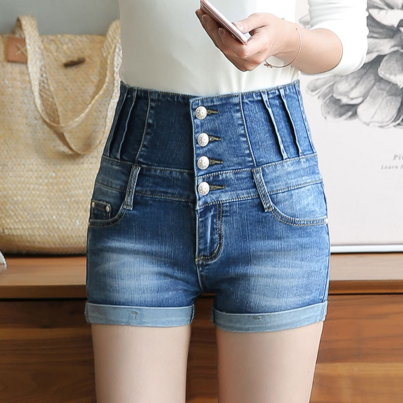 2018 hochschule Winde Mode Feminino 4 Tasten Hohe Taille Retro Einfarbig Dünne Elastische Kurze Jeans Blau Fitness Denim Shorts