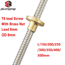 T8 Lead Screw OD 8mm Pitch 2mm Lead 8mm 150mm 200mm 250mm 300mm 350mm 400mm 500mm with Brass Nut for Reprap 3D Printer Z Axis guide rail sets t8 lead screw length 400mm linear shaft 8 400mm kp08 sk8 sc8uu nut housing coupling motor
