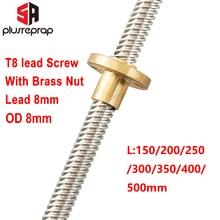 купить T8 Lead Screw OD 8mm Pitch 2mm Lead 8mm 150mm 200mm 250mm 300mm 350mm 400mm 500mm with Brass Nut for Reprap 3D Printer Z Axis недорого