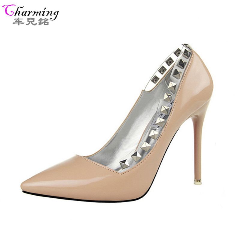2016 HOT women pumps red bottom high heels 10 5cm brand rivets pointed toe nude women