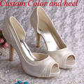 Wedopus MW702 Hot Selling Women Ivory Lace Bridal Shoes Wedding Peep Toes High Heels