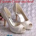 Wedopus MW702 Venda Quente Das Mulheres Do Laço Do Marfim Nupcial Sapatos de Casamento Peep Toes de Salto Alto