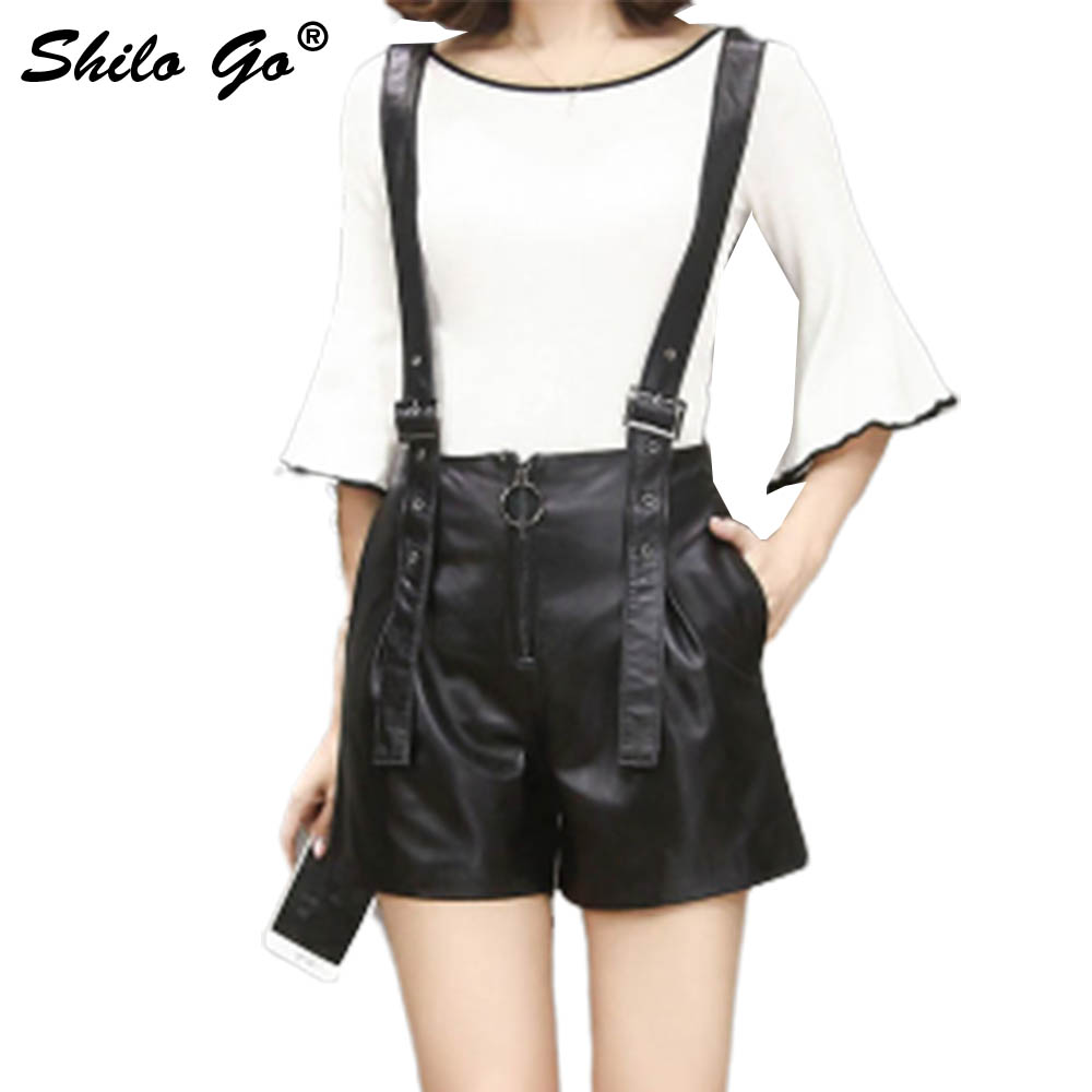 Leather Shorts Overalls Womens Autumn Fashion Sheepskin Genuine Leather Front Zipper Pocket Spaghetti Strap Shorts