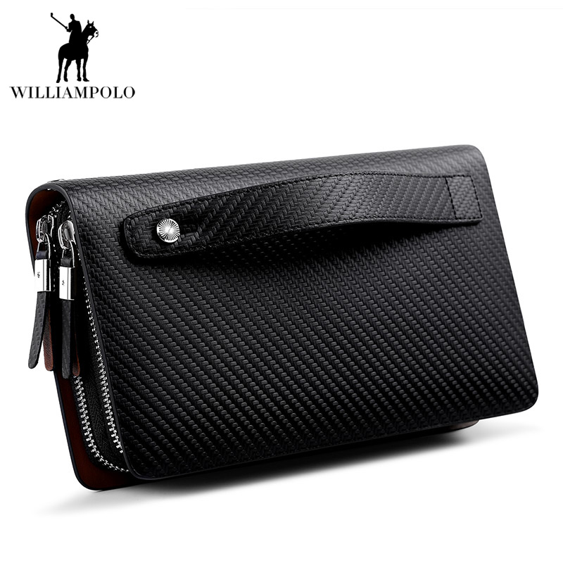 WILLIAMPOLO 2018 Luxury Business Solid Double Zipper Men Genuine Leather