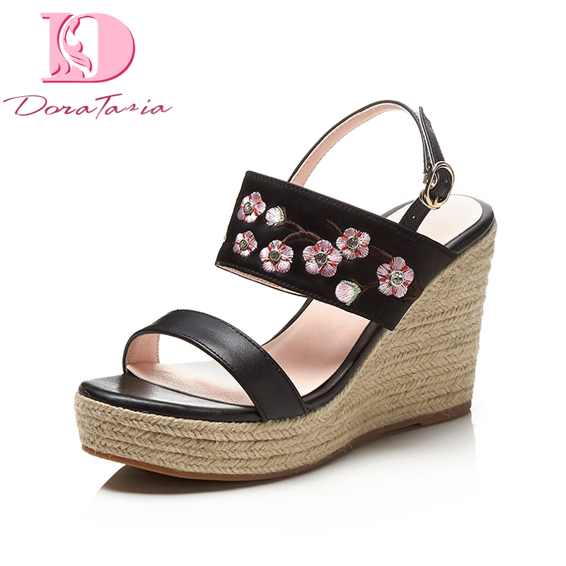 ea98dbbbc401 Doratasia 2018 Cow Genuine Leather Summer Sandals Sweet Party Shoes Women  Platform High Heels Wedges Embroider Woman Shoes