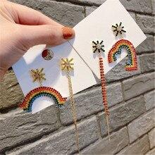 Korean Asymmetry Rainbow Heart Tassel Rhinestone Anti-allergy Woman Girls Dangle Drop Earrings Fashion Jewelry-QQD5 цена