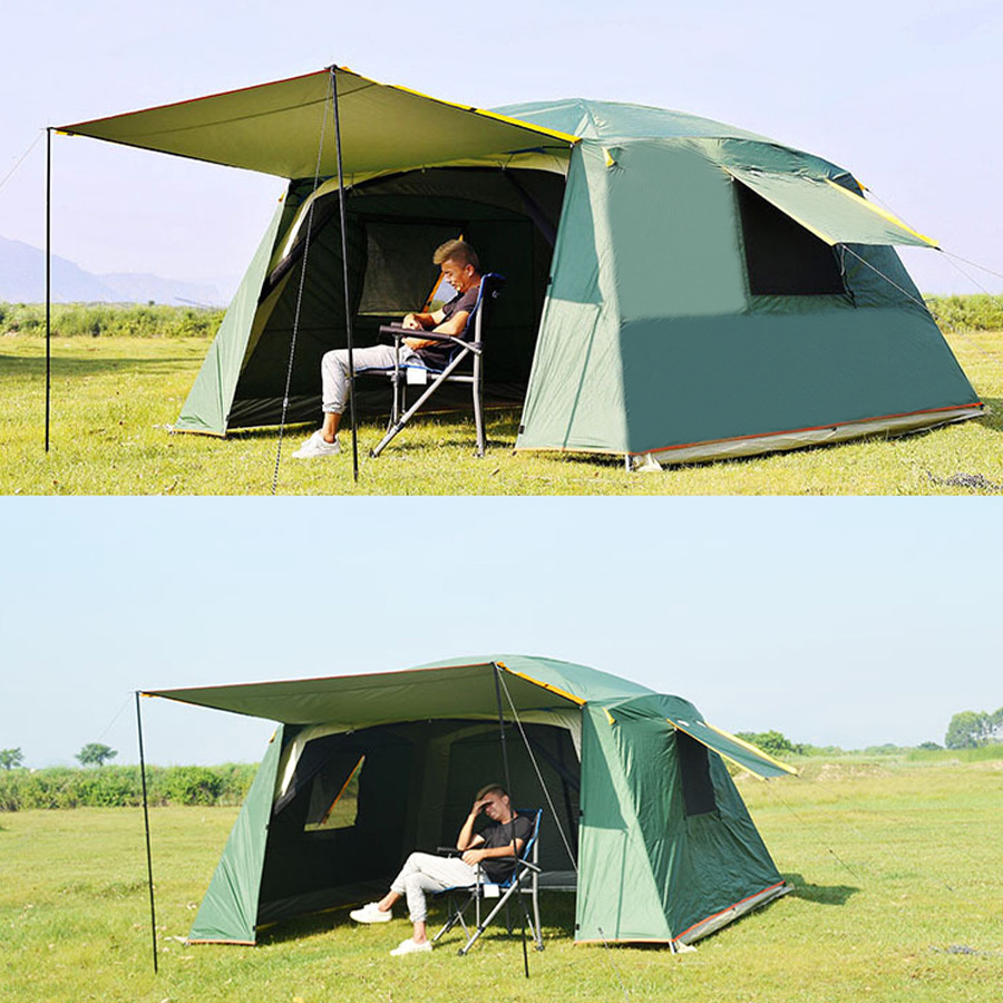 Ultralarge 5 8 person use 365*365*220CM double layer waterproof sun shelter large gazebo camping party family garden tent
