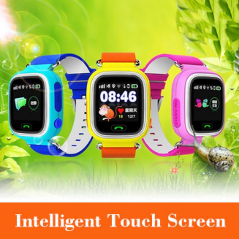 Q90 Posição Crianças Relógio GPS Criança Telefone Do Relógio Inteligente 1.22 polegada Cor da Tela de Toque WIFI SOS Inteligente Bebê Relógio Para crianças dos miúdos