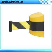 Max 5m Plastic retractable wall barrier stanchions with yellow and black belt