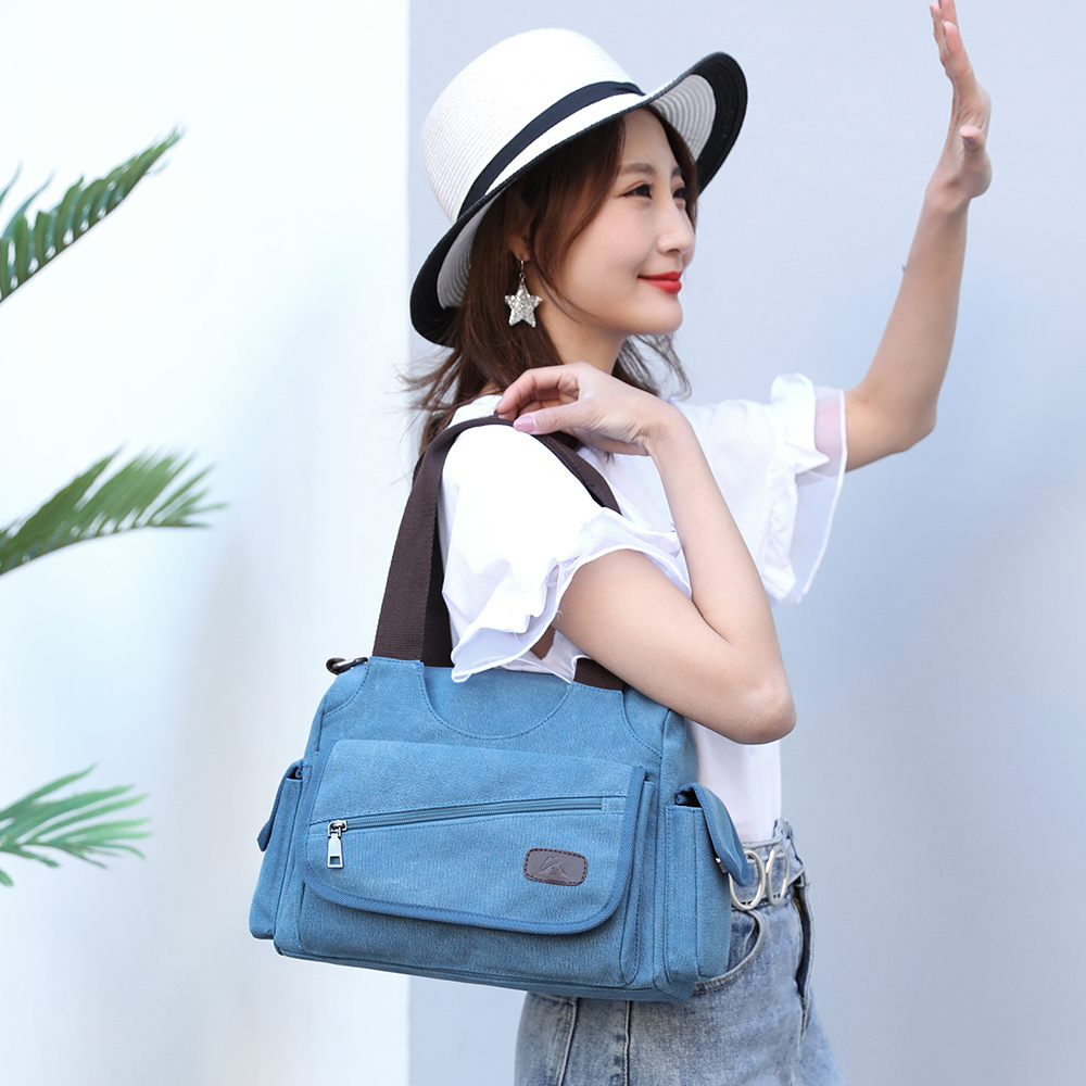 Image 5 - Woman Canvas Handbags Casual lady Hobos Single Shoulder Bags Girls Crossbody Pack Vintage Solid Multi pocket Ladies Totes BolsasTop-Handle Bags   -