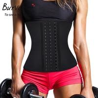 Burvogue Waist Trainer Hot Shapers Sweat Sauna Neoprene Body Shaper Slimming Belt Shapewear 4 Steel Boned