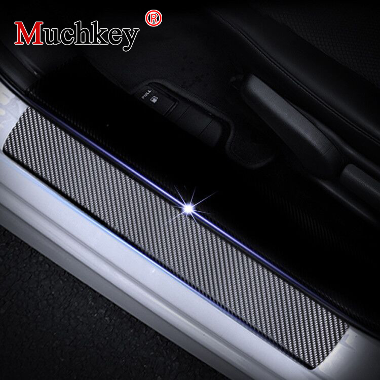 For Touareg Tiguan Touran Door Sill Protector,Kick Plates Pedal Threshold Cover Carbon Fiber Sticker Anti-Scratch Anti-Slip Car Styling 4Pcs White