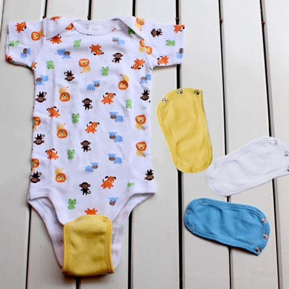 5pcs Baby Romper Partner Super Utility Bodysuit Jumpsuit Diaper Lengthen Extend Film Blue/white/yellow/pink Nappy Changing Baby Care