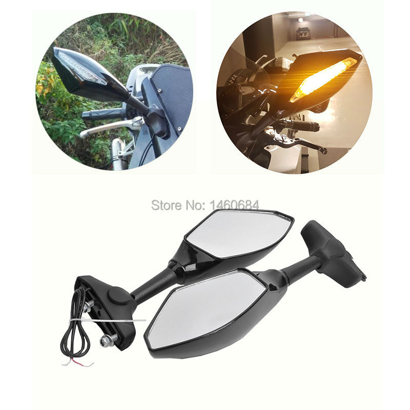Motorcycle Indicator Rearview Side Mirrors & Integrated LED Turn Signals Clear Lens Fit For Street Bikes Cruiser Scooters New