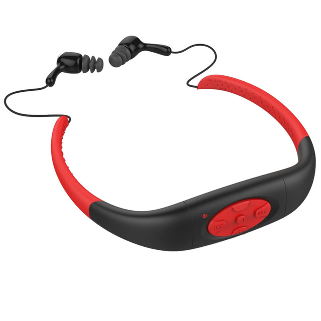 100% Natación Subacuática Impermeable 4 GB MP3 Music Media Player Neckband Deporte reproductor de mp3 con FM Radio Estéreo de Audio para Auriculares