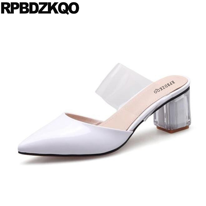 Sandals Genuine Leather Red Patent Perspex Pvc Thick Mules Slipper Pointed Toe Luxury Women Shoes High Heels White Transparent mnixuan  women slipper sandals genuine
