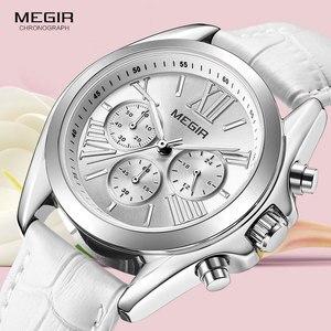 Image 3 - MEGIR2019 Neue Luxus Leder Uhr Frauen Weibliche Top Marke Chronograph Quarz Armbanduhr Dame Relogios Femininos Uhr 2114 Weiß