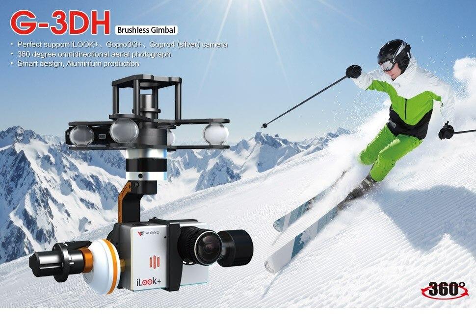 Livraison gratuite Walkera G-3DH sans brosse rotatif caméra Support de cardan iLook + Gopro3/3 + Gopro4 caméra 360 degrés contrôle d'inclinaison FPV - 2