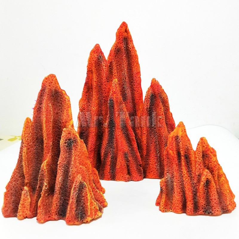Mr.Tank 3pcs Aquarium Mountain View Volcano Rockery