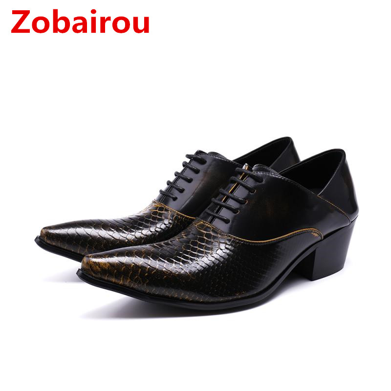 Zobairou zapatos hombre crocodile skin leather shoes classic men high heels lace up wedding black oxford shoes for men Zobairou zapatos hombre crocodile skin leather shoes classic men high heels lace up wedding black oxford shoes for men