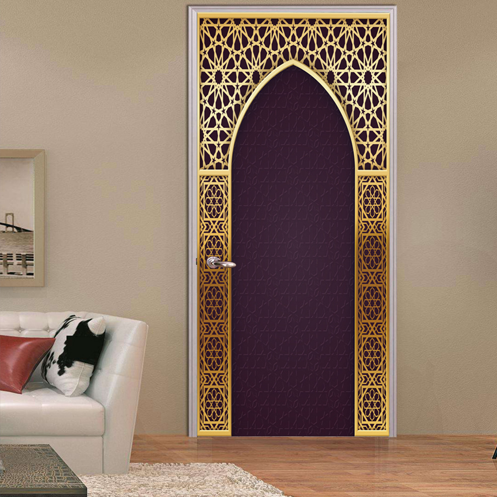New 2pcs/set 3D Creative Arabic Style Door Stickers Wallpaper Bedroom Living Room Corridor Wall Stickers Home Door Decoration