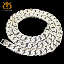 Mens 15mm Heavy Iced Alloy Miami Cuban Link Necklace Choker Bling Hip hop Jewelry Gold Silver Chain