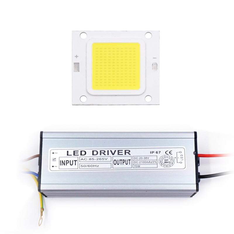 LED COB Chip Light 10W 20W 30W 50W 70W LED Beads+LED Driver Transformer DIY For Floodlight Voltage Regulate High Flux Suitable