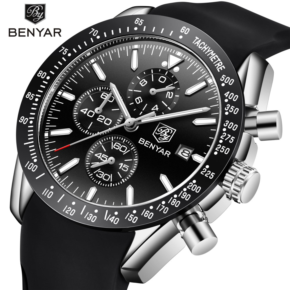 2018 New BENYAR Men Watches Brand Luxury Silicone Waterproof Sport Quartz Chronograph Military Watch Men Clock Relogio Masculino все цены