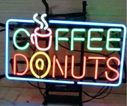 Custom COFFEE DONUTS Glass Neon Light Sign Beer Bar