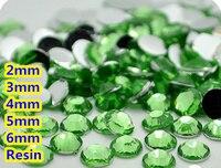 Zielony Kolor 2mm, 3mm, 4mm, 5mm, 6mm Aspekty Mieszkanie Powrót Żywica Rhinestone Gems Nail Art Decoration