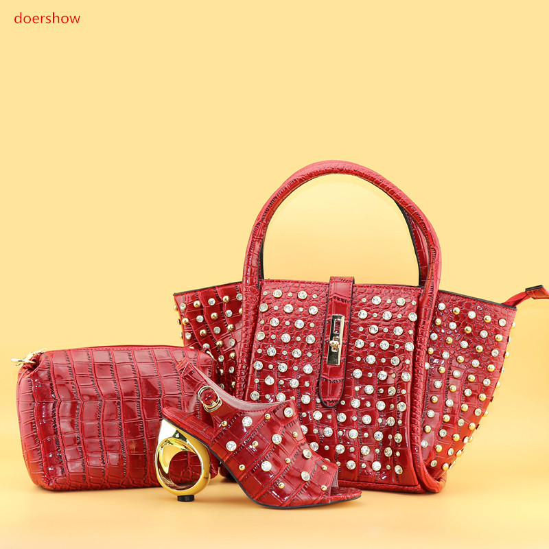 doershow Italian Shoe And Bag Set African Wedding Shoe And Bag Sets Italy Women Shoe And Bag To Match For party SPAN1-2 fashion italy design italian matching shoe and bag set african wedding shoe and bag sets women shoe and bag to match tmm1 41