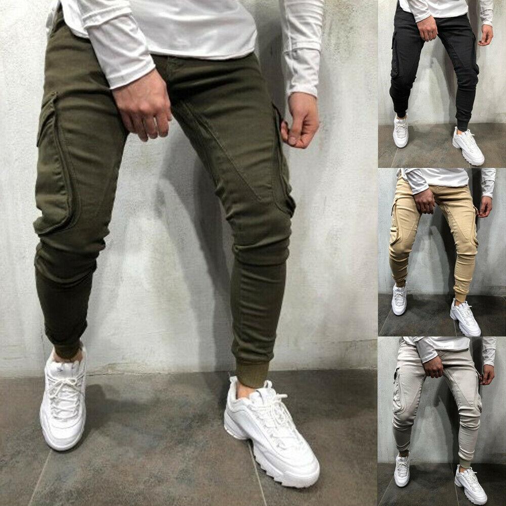 Hirigin New Men's Casual Slim Skinny Fit Sport Pant Bottoms Joggers Pants Trousers