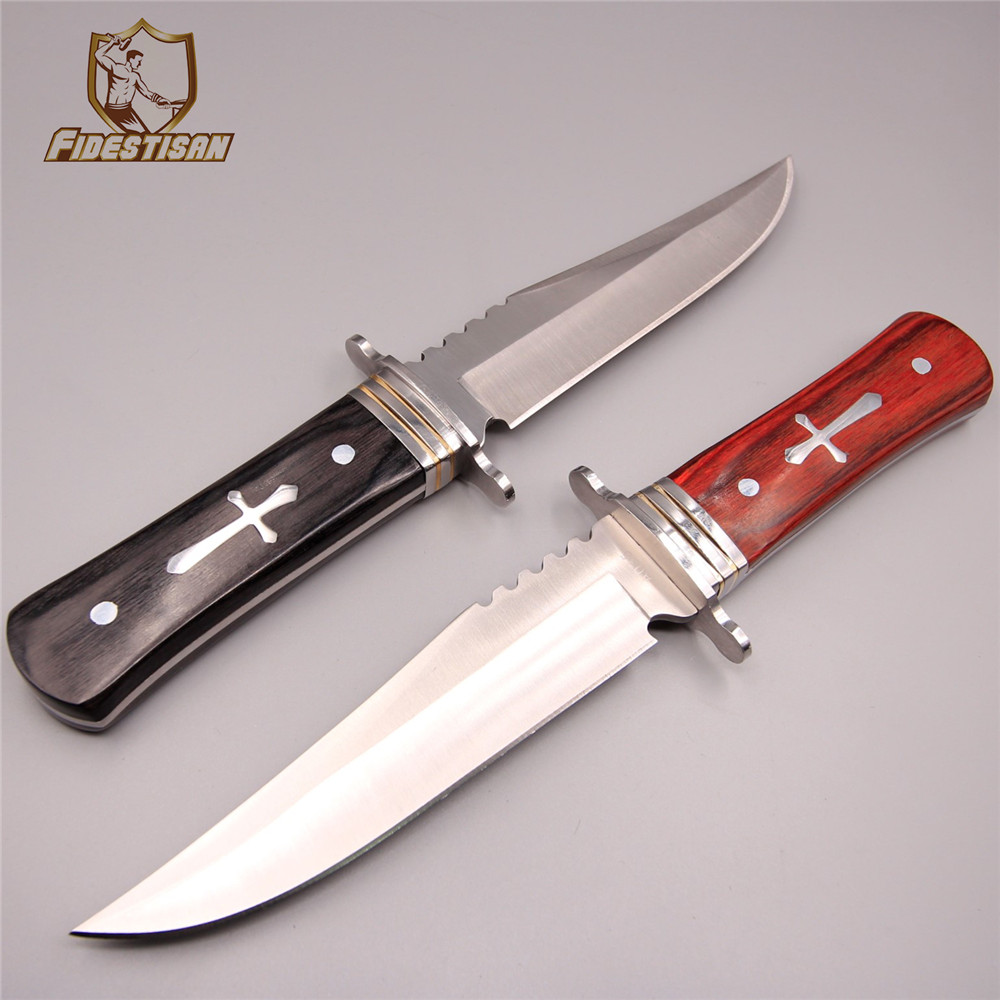 new etro knife straight fixed 440c steel blade army survival diving camping tactical cutter gift wood handle knife tool sharp