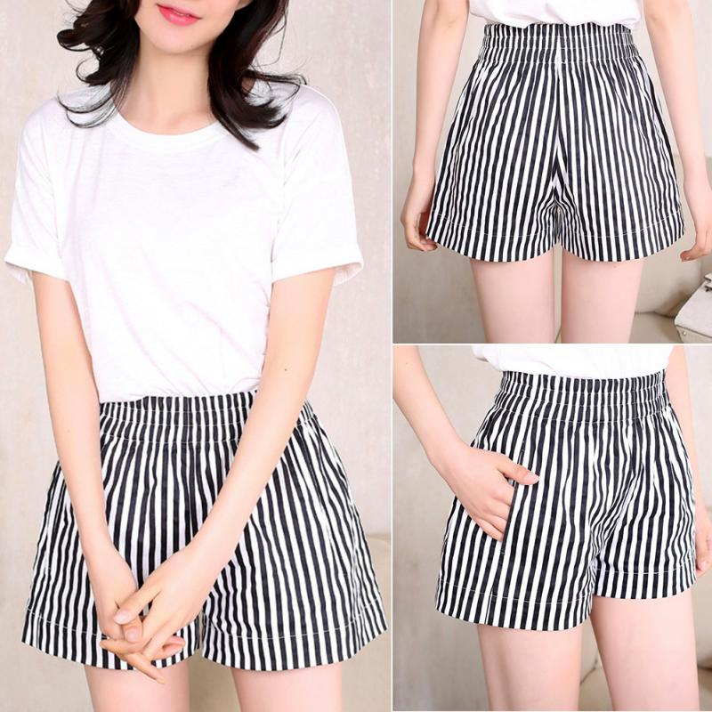 Summer Woman Shorts Office Lady Loose Black White Vertical Striped Shorts High Waist Casual Cotton Wide leg Hot Short