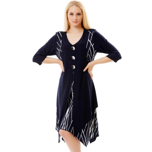 BFDADI Новое Прибытие 2016 Женщины Ретро Случайные Свободные Строки Платье 3/4 Рукавом Сращивание Нерегулярные хем платье Большого размера xl-5xl 7-3580
