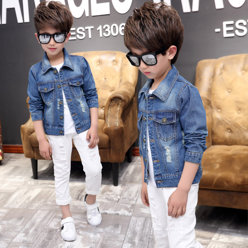 Boys Jeans Boys Outerwear Coats Casual Spring Fall Denim Jackets for Kids Children solid Cowboy Coat Hole Blue Jeans Clothing in Jackets Coats from Mother Kids