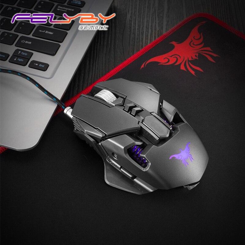 FELYBY CW50 usb filaire souris de jeu de haute qualité profession ordinateur portable souris gamer 3200 dpi 6 Boutons LED Optique souris pour PC
