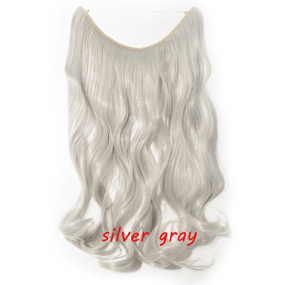 S-noilite 20 дюймов невидимый провод без заколки для волос Расширения секретная Рыбная линия шиньоны шелковистые прямые настоящие натуральные синтетические - Цвет: silver gray