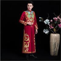 Chinese traditional Wedding costume the groom Gown Suits Jacket + Robe Ancient wedding bridegroom Clothing for Oversea Chinese