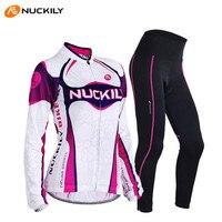 NUCKILY 2017 Kobieta Sport Bike Odzież Spodnie Kostiumem Podkładki Żelowe Koszulki Oddychające Pro Ochrony Przeciwsłonecznej Jazda Na Rowerze Rower Jersey Kolarstwo Zestawy