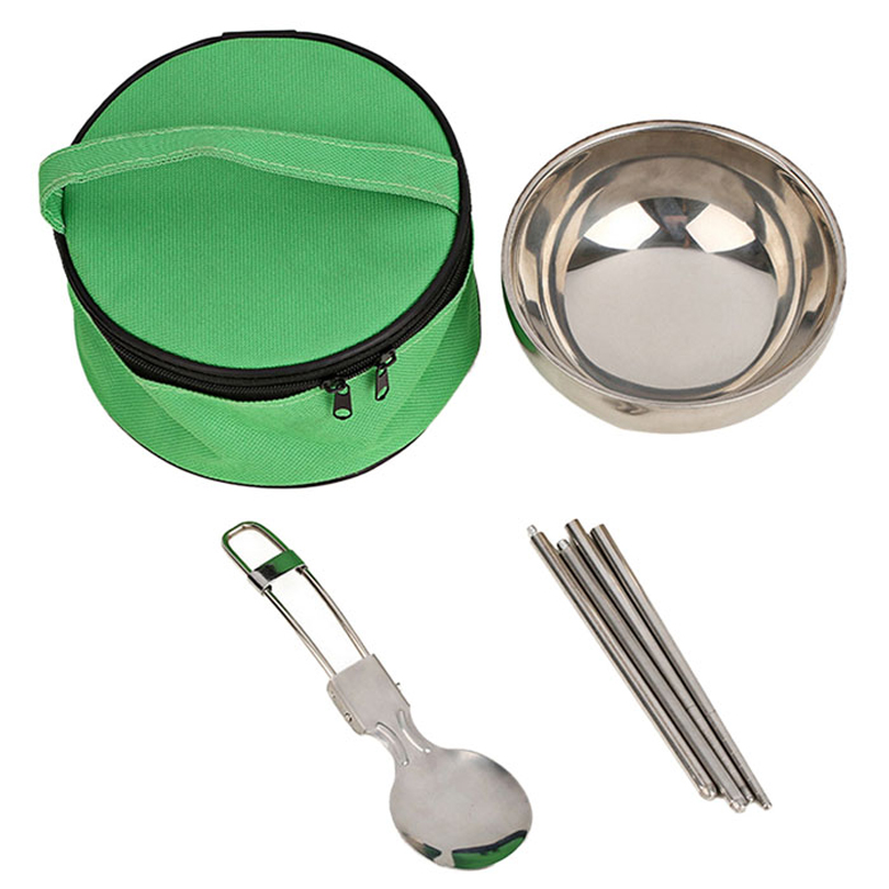 Sports & Entertainment New 3 In1 Cutlery Camping Sets Portable Stainless Steel Picnic Tableware Bowl Folding Spoon Chopsticks Travel Camping Cookware Campcookingsupplies