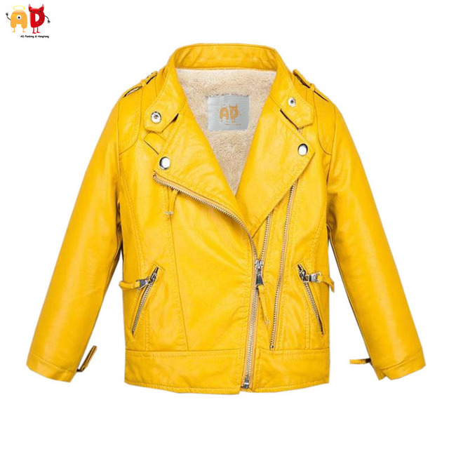 AD Candy Color Boys Girls Fleece Leather Jacket for Winter Yellow ...
