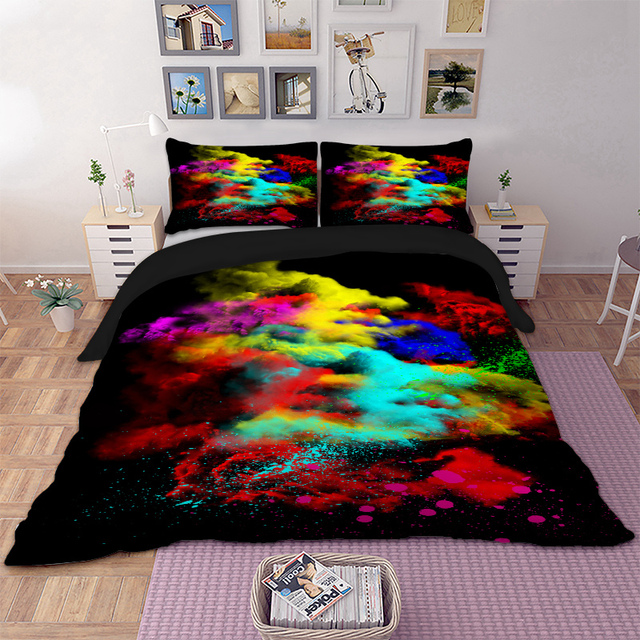 Colourful Art Bedding Set Twin Full Queen King Super Uk Double Size Beautiful Duvet Cover Pillow Cases Cool Bed Linens