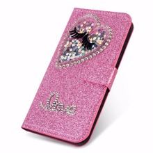 XINGDUO bling Jewelled diamond case for Samsung Note8 9 S10 S10Plus S8 S9 S6 PU Leather flip cute Glitter love Quicksand