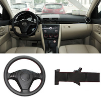 Brand New DIY Sewing On PU Leather Steering Wheel Cover Exact Fit For Mazda 3 Mazda