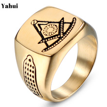 Yahui Masonic Compass Square Gold Tone Mens Stainless Steel Ring Polished High-Large Male Party Jewelry