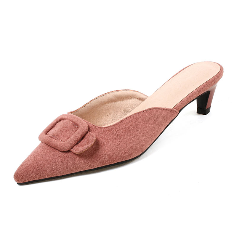 Ladies Mules Shoes Pointed Toe Womens Med Heels Red Buckle Girls Wedding Party Shoes Plus Size