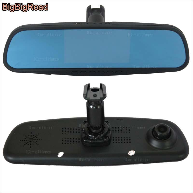 BigBigRoad pour toyota Reiz estima voiture miroir DVR caméra écran bleu double lentille enregistreur vidéo Dash Cam avec support d'origine