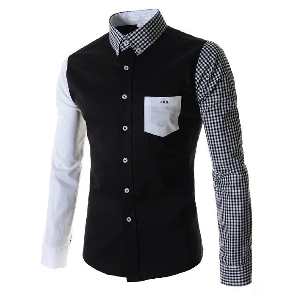 Shirt design new - Syb 2016 New Mens Shirts Hit Color Asymmetrical Sleeves Design Casual Slim Fit Long Sleeved Shirt